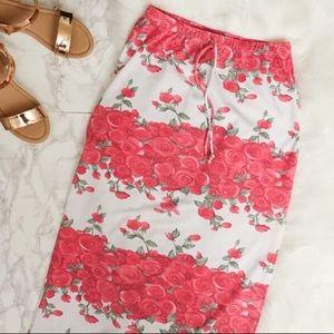 Vintage 90s Floral Rose Pink Red Maxi Skirt